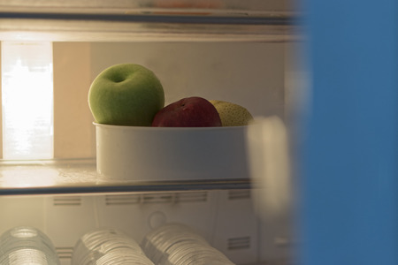 The apple in the refrigerator is empty.