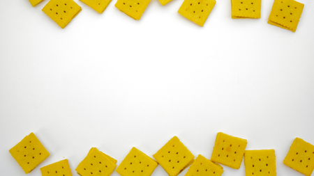 Square biscuits on white background and  empty space Banque d'images - 124755013