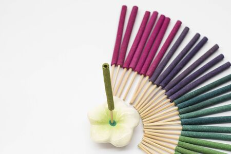 colorful aroma incense set on white background.