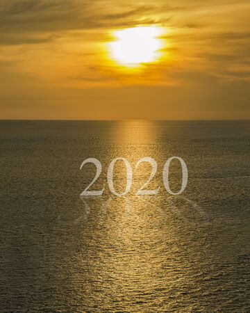 concept text 2020 sunrise or sunset on ocean.