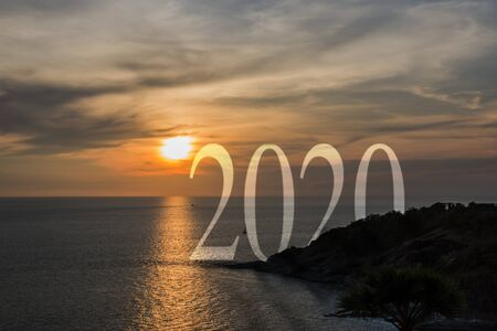 concept text 2020 gloden sunrise or sunset on ocean.