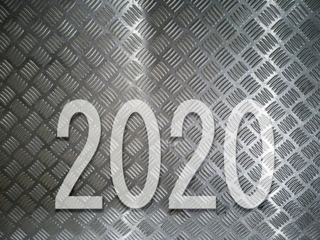 concept text year 2020 on metal pattern.