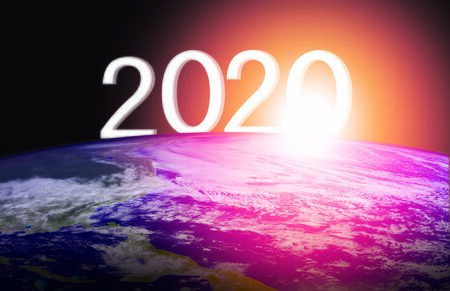 concept year 2020 and 3d rendering of planet Earth Stock fotó