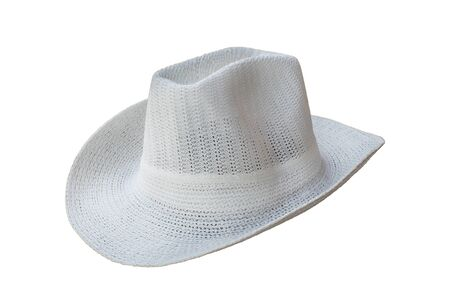 white cowboy woven hats on a white background Stock fotó