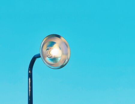 modern lamp on blue skey background