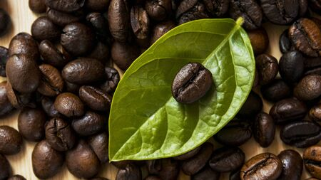 closeup coffee beans and leaves on wood table. Stock fotó