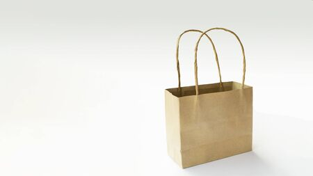 Recycled blank kraft paper shopping bag for purchases with handles on white isolated background Stock fotó