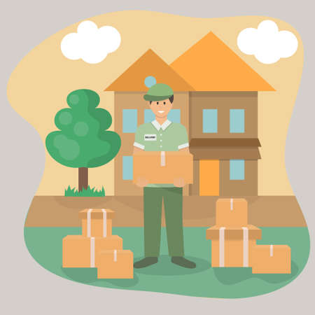 Delivery man with parcels in the suburbs. Delivery home and online order tracking. Vector illustration.