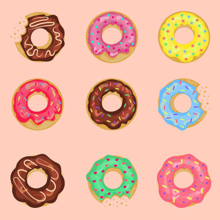 Set of sweet donuts with cream isolated on a pink background. Cute glossy donuts with pink, chocolate and vanilla glaze and sprinkles. For the design of recipes, menus, culinary blogs.