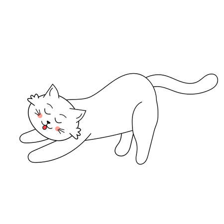 Cute white cat stretched out its paws and arches its back. Vector illustration with cartoon funny domestic pet.