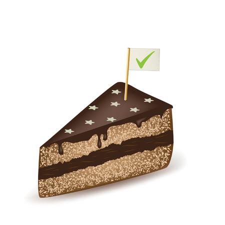 Check Mark Chocolate Cake. Illustration