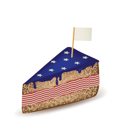 American Cake with Flag. Illustration