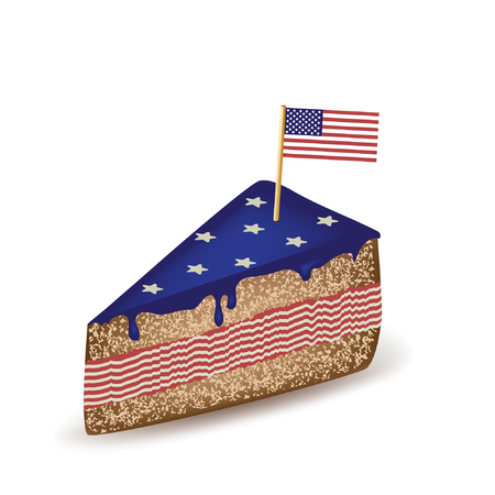 American Flag Cake. Illustration