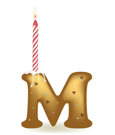 Letter M Birthday Candle.