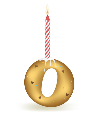 Letter O Birthday Candle. Illustration