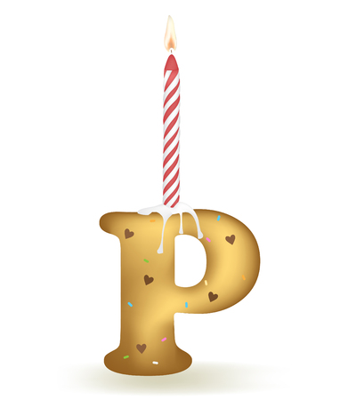 Letter P Birthday Candle. Illustration