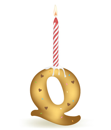 Letter Q Birthday Candle.