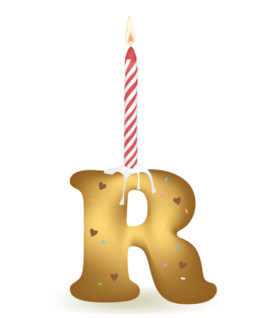 Letter R Birthday Candle. Illustration