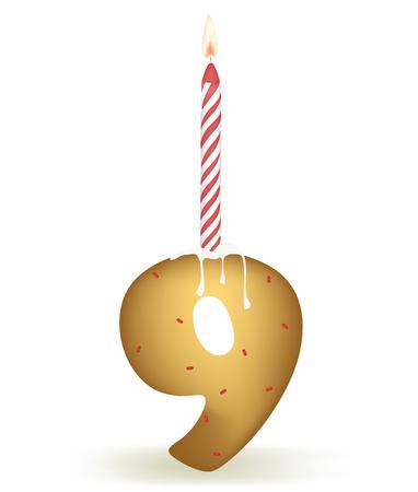 Number Nine Birthday Cake. Illusztráció
