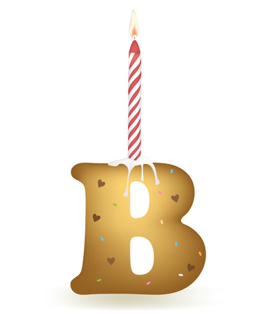 Letter B Birthday Cake. Illustration