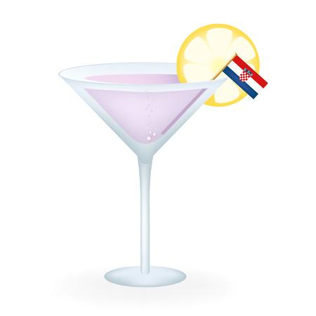 Croatia Cocktail Illustration