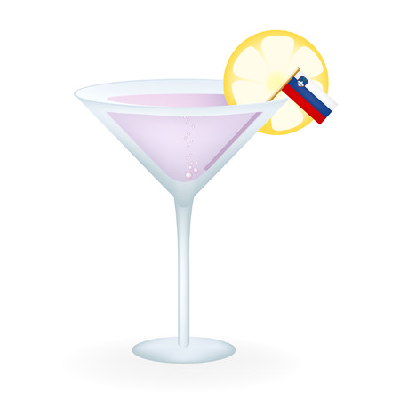 Slovenia Cocktail Illustration