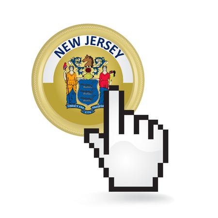 New Jersey Button Click Illusztráció