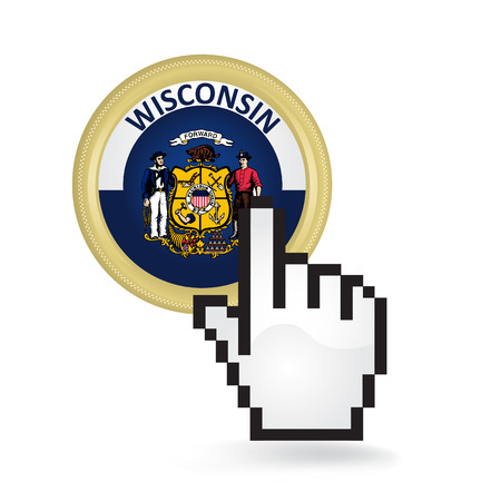 Wisconsin Button Click Ilustrace