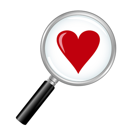 Find Love with magnifying glass and heart. Illustration
