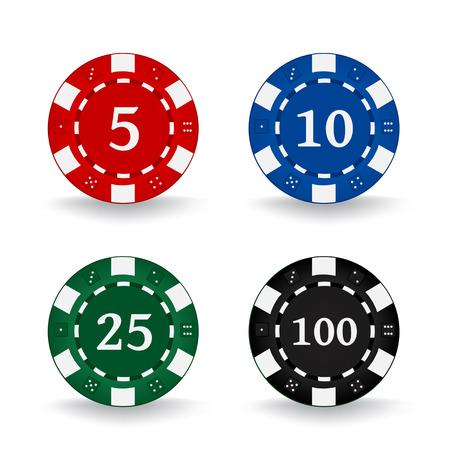 Poker Chips Set isolated on plain background
