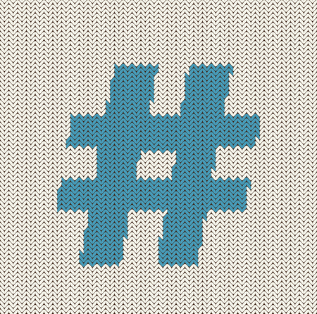 Hashtag Symbol Knitted Background Ilustrace