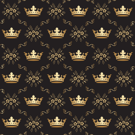 Seamless Royal Crown Pattern  イラスト・ベクター素材