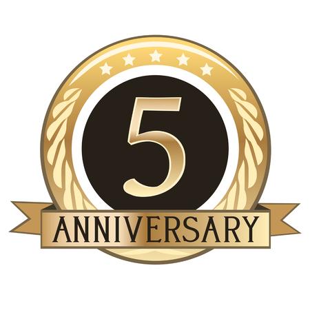 Five Year Anniversary Gold Badge Illustration