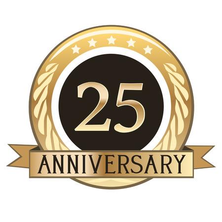 25周年記念ゴールドバッジ 写真素材 - 97895866