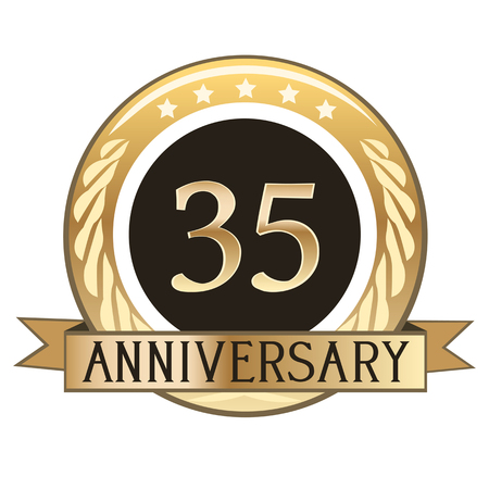 Thirty Five Year Anniversary Gold Badge