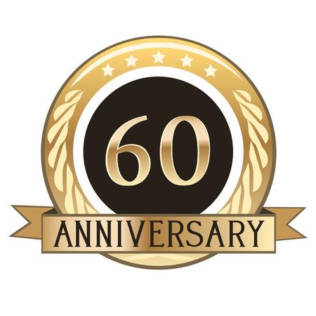 Sixty Year Anniversary Wax Seal Vetores
