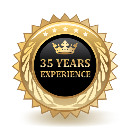 Thirty Five Years Experience Gold Badge 版權商用圖片 - 97792700