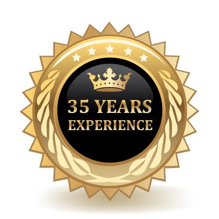 Trzydzieści pięć lat doświadczenia złota odznaka