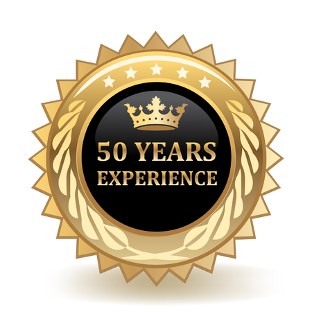 Fifty Years Experience Gold Badge Illustration