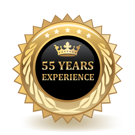 Fifty Five Years Experience Gold Badge Stock Illustratie