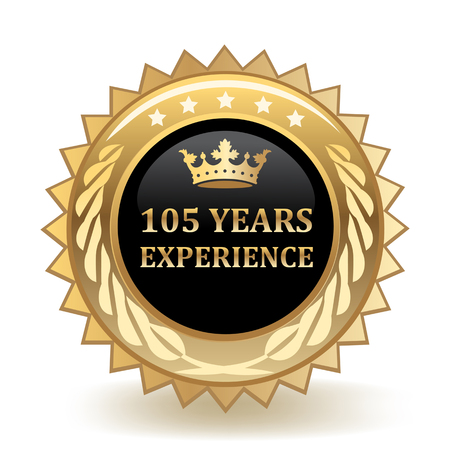 One Hundred And Five Years Experience Gold Badge  イラスト・ベクター素材