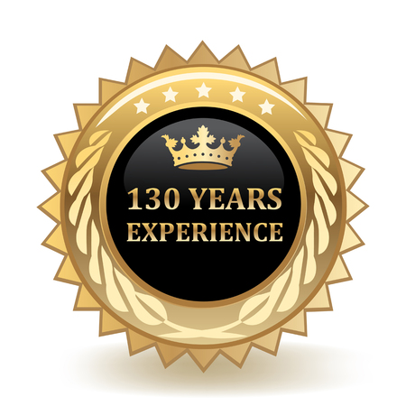 One Hundred And Thirty Years Experience Gold Badge  イラスト・ベクター素材