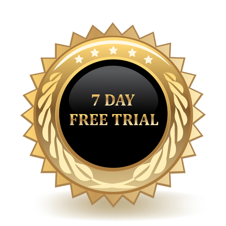 Seven Day Free Trial Gold Badge  イラスト・ベクター素材