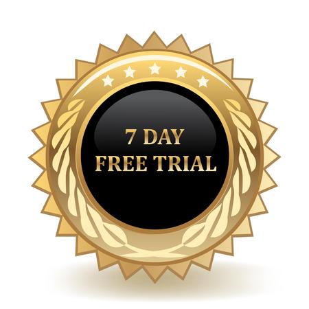 Insignia de oro de prueba gratuita de siete días Ilustración de vector
