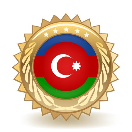 Flag Of Azerbaijan Gold Badge isolated on plain background.