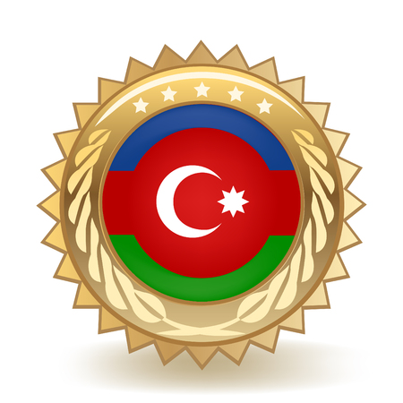 Flag Of Azerbaijan Gold Badge isolated on plain background.