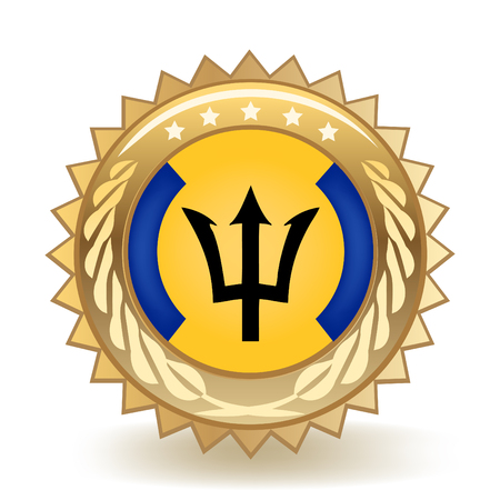 Flag Of Barbados Gold Badge isolated on plain background.