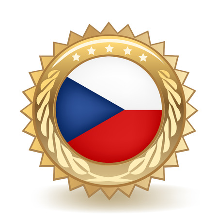 Flag Of The Czech Republic isolated on plain background.