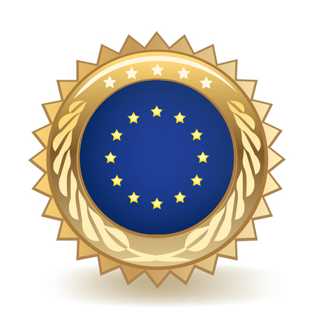 Flag Of The European Union Gold Badge isolated on plain background.
