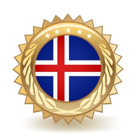 Flag Of Iceland Gold Badge isolated on plain background.